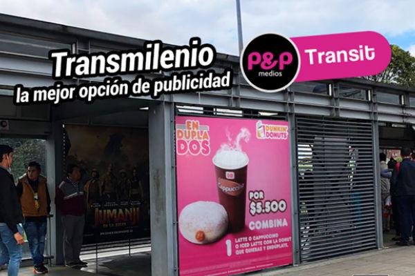 Publicita en el sistema de transporte masivo de Bogotá.