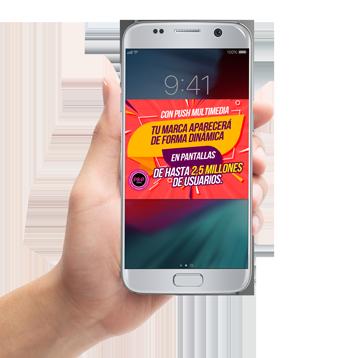 Mensajes y notificaciones push en móviles.